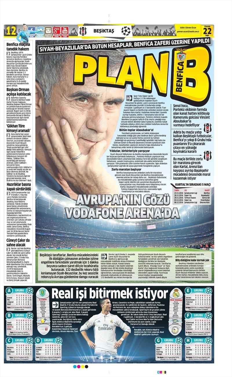22 Kasım 2016 | Gazetelerin Beşiktaş sayfaları 14