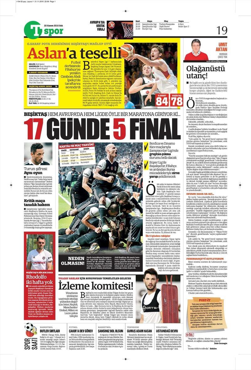 22 Kasım 2016 | Gazetelerin Beşiktaş sayfaları 2