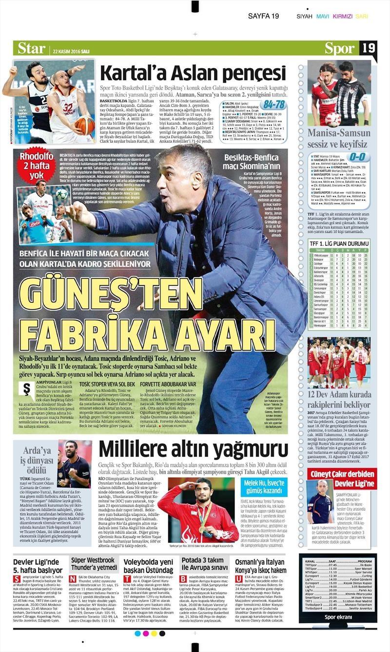 22 Kasım 2016 | Gazetelerin Beşiktaş sayfaları 4