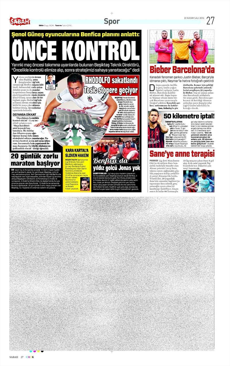 22 Kasım 2016 | Gazetelerin Beşiktaş sayfaları 5