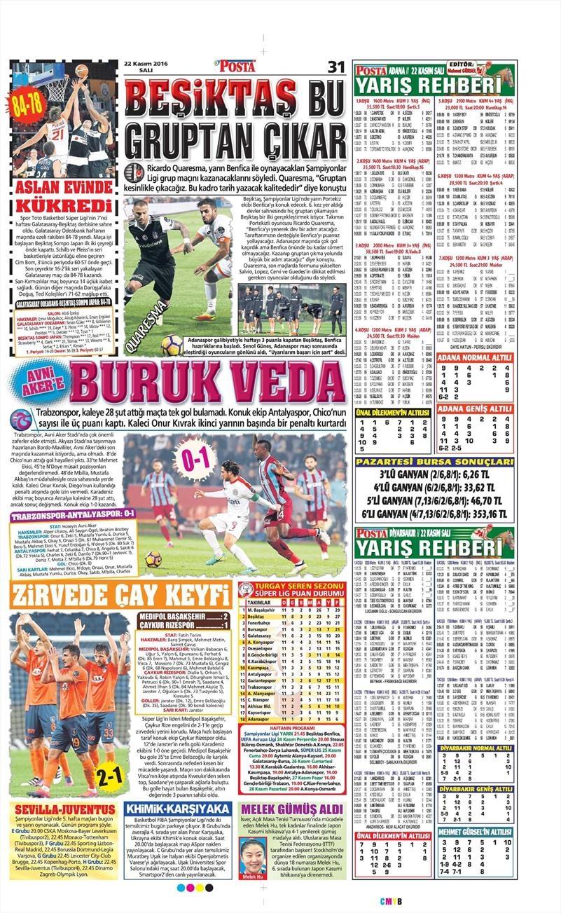 22 Kasım 2016   Gazetelerin Beşiktaş sayfaları 6