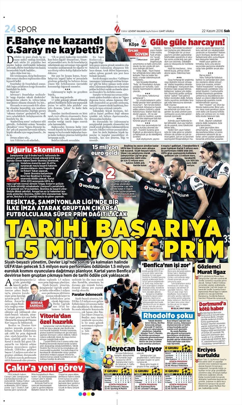 22 Kasım 2016 | Gazetelerin Beşiktaş sayfaları 7