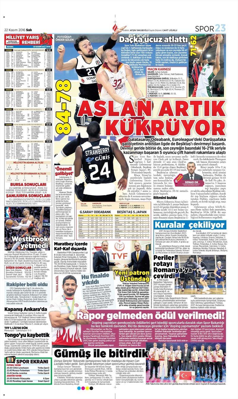 22 Kasım 2016 | Gazetelerin Beşiktaş sayfaları 8