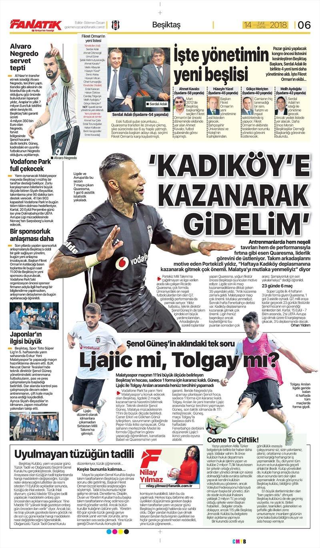 14 Eylül 2018 | Gazetelerin Beşiktaş Manşetleri 1