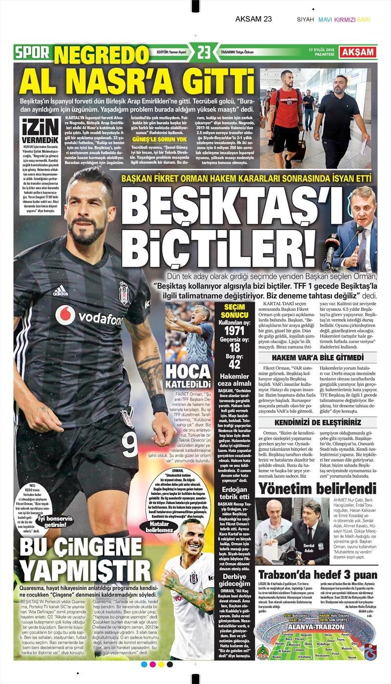 17 Eylül 2018 | Gazetelerin Beşiktaş Manşetleri 1
