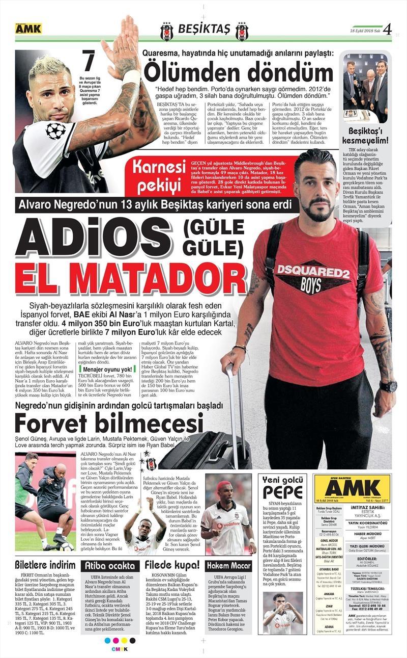 18 Eylül 2018 | Gazetelerin Beşiktaş Manşetleri 1