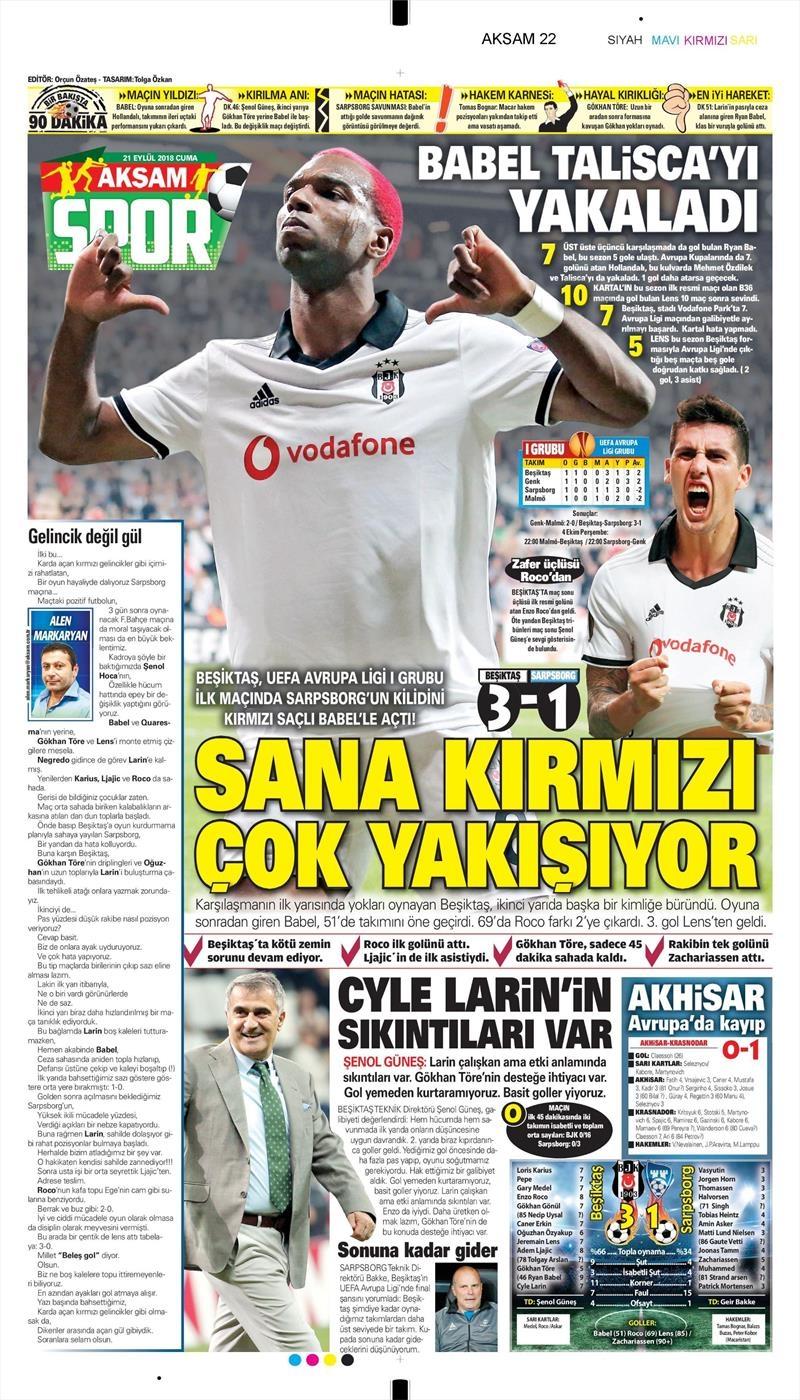 21 Eylül 2018 | Gazetelerin Beşiktaş Manşetleri 1