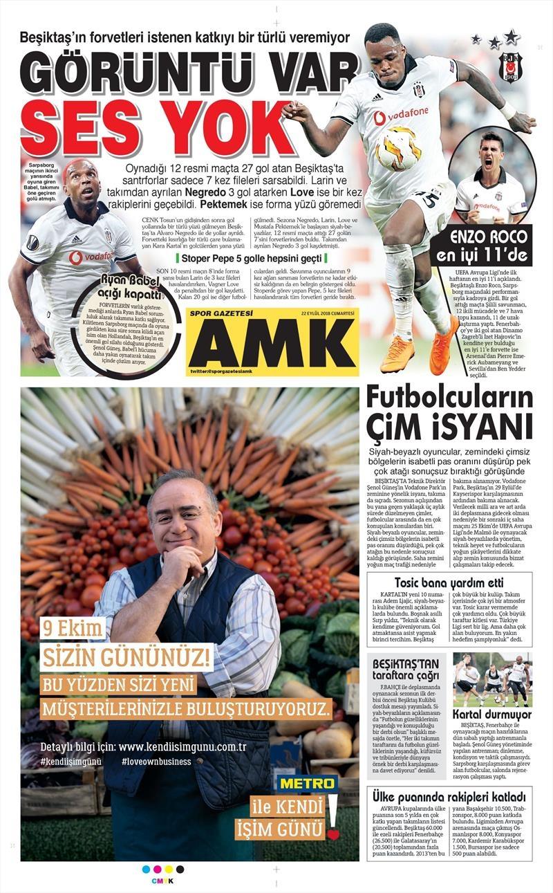 22 Eylül 2018 | Gazetelerin Beşiktaş Manşetleri 1
