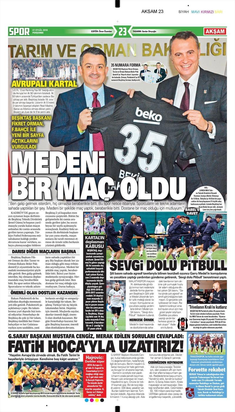 27 Eylül 2018 | Gazetelerin Beşiktaş Manşetleri 1