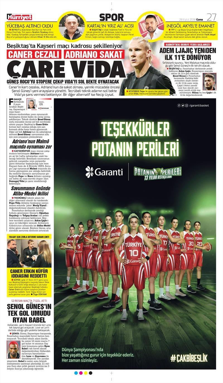 28 Eylül 2018   Gazetelerin Beşiktaş Manşetleri 1
