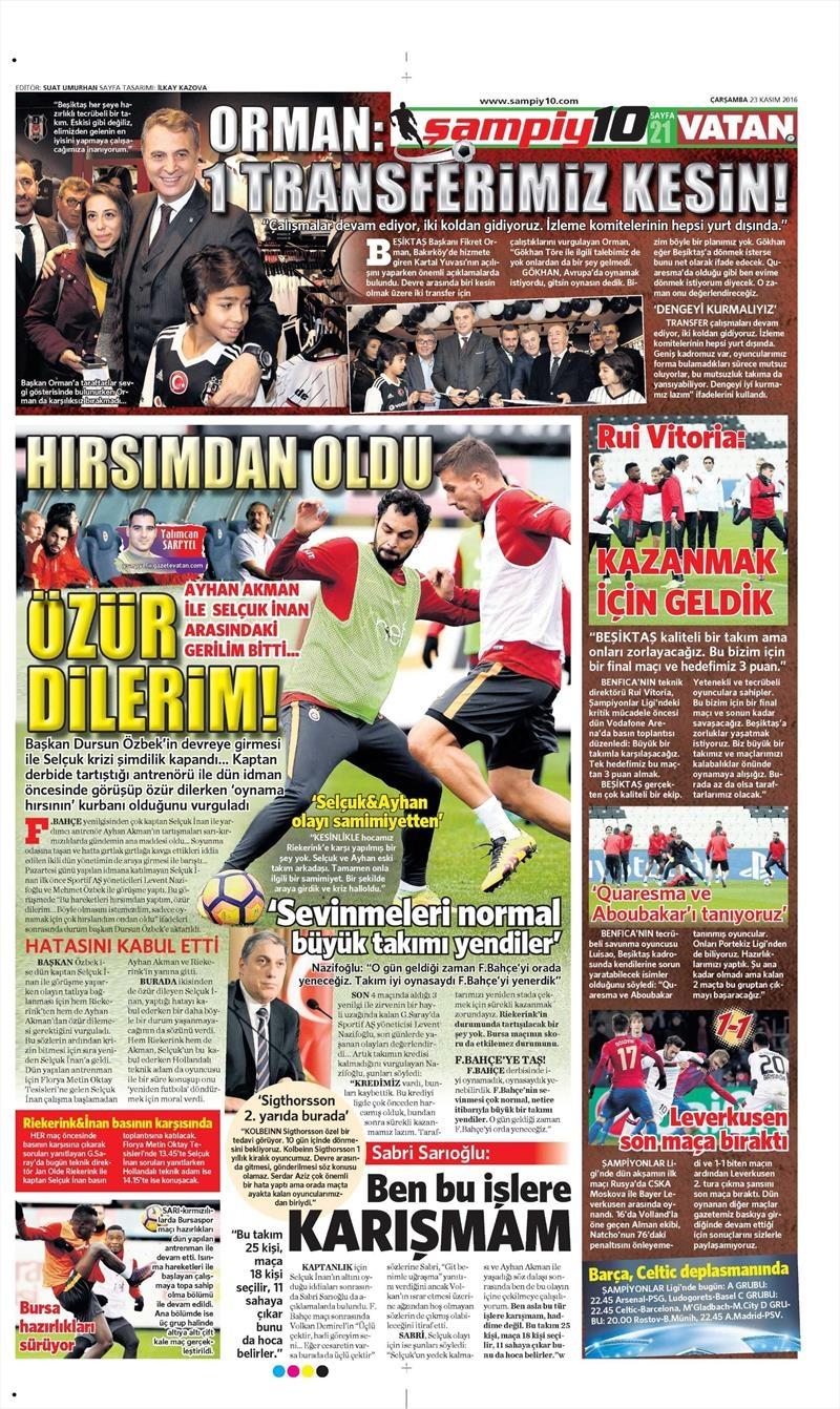 23 Kasım 2016 | Gazetelerin Beşiktaş sayfaları 1