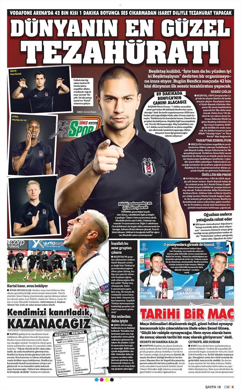 23 Kasım 2016   Gazetelerin Beşiktaş sayfaları 11