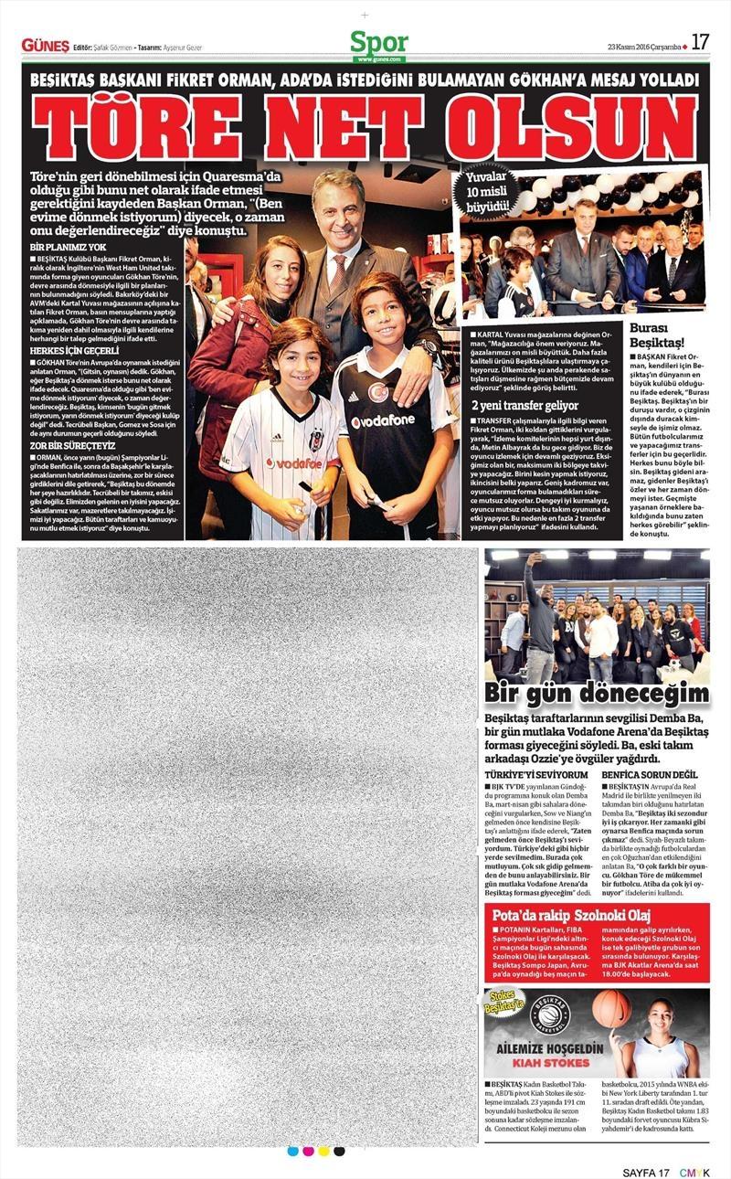 23 Kasım 2016 | Gazetelerin Beşiktaş sayfaları 12