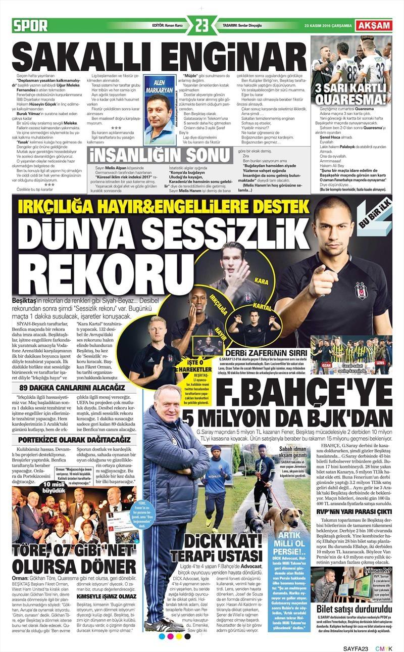 23 Kasım 2016 | Gazetelerin Beşiktaş sayfaları 13