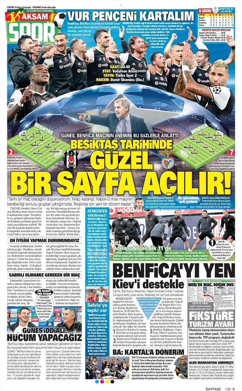 23 Kasım 2016 | Gazetelerin Beşiktaş sayfaları 14