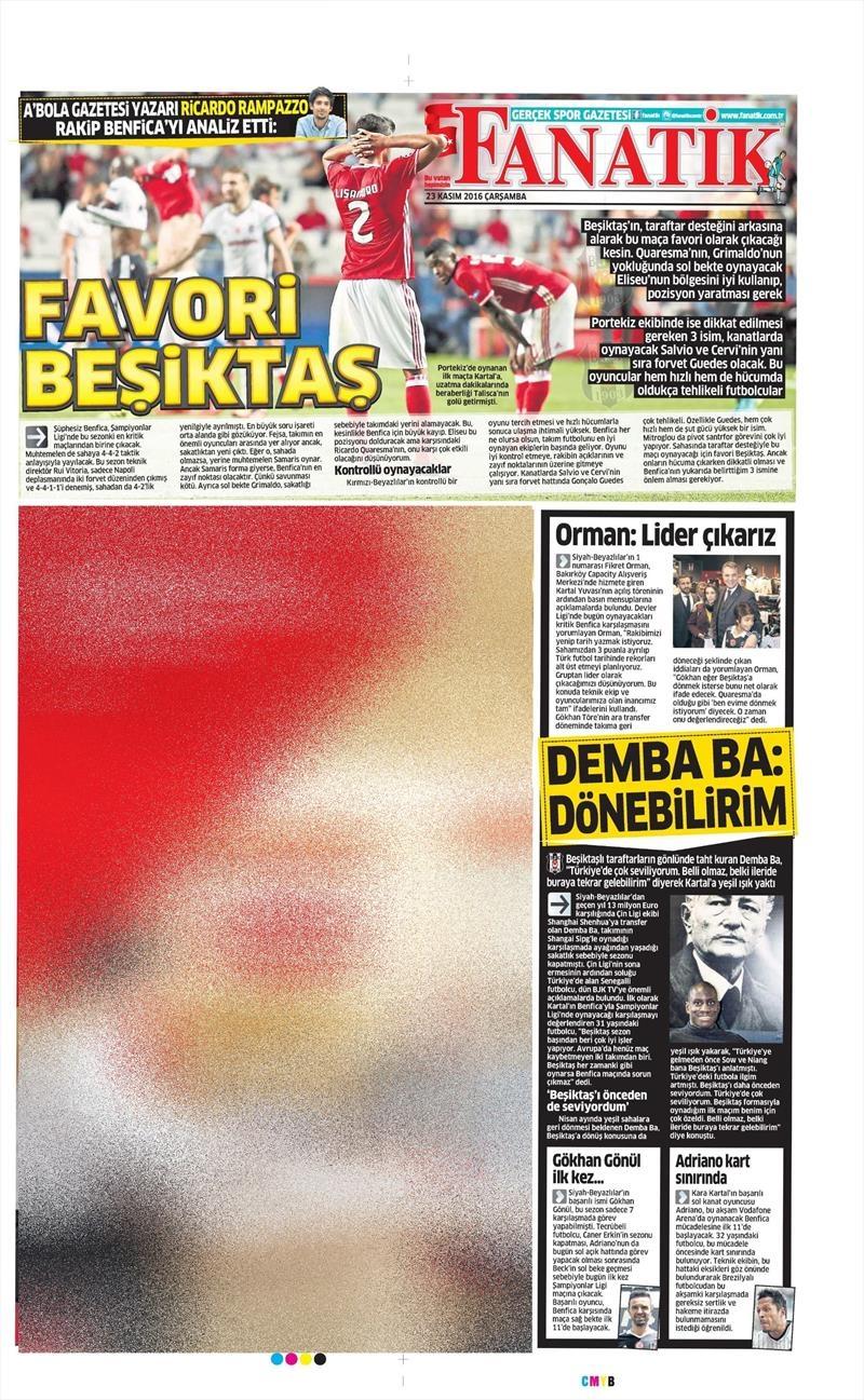 23 Kasım 2016 | Gazetelerin Beşiktaş sayfaları 15