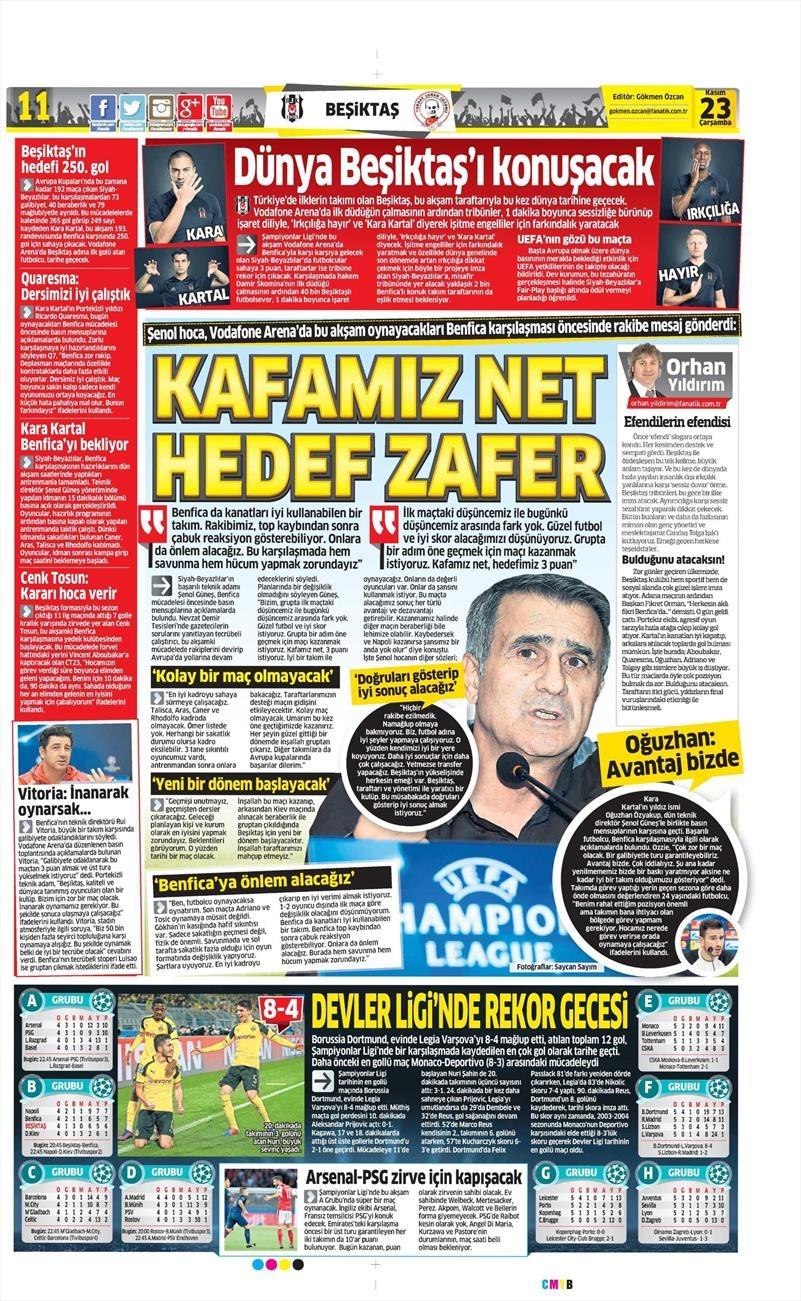 23 Kasım 2016 | Gazetelerin Beşiktaş sayfaları 16
