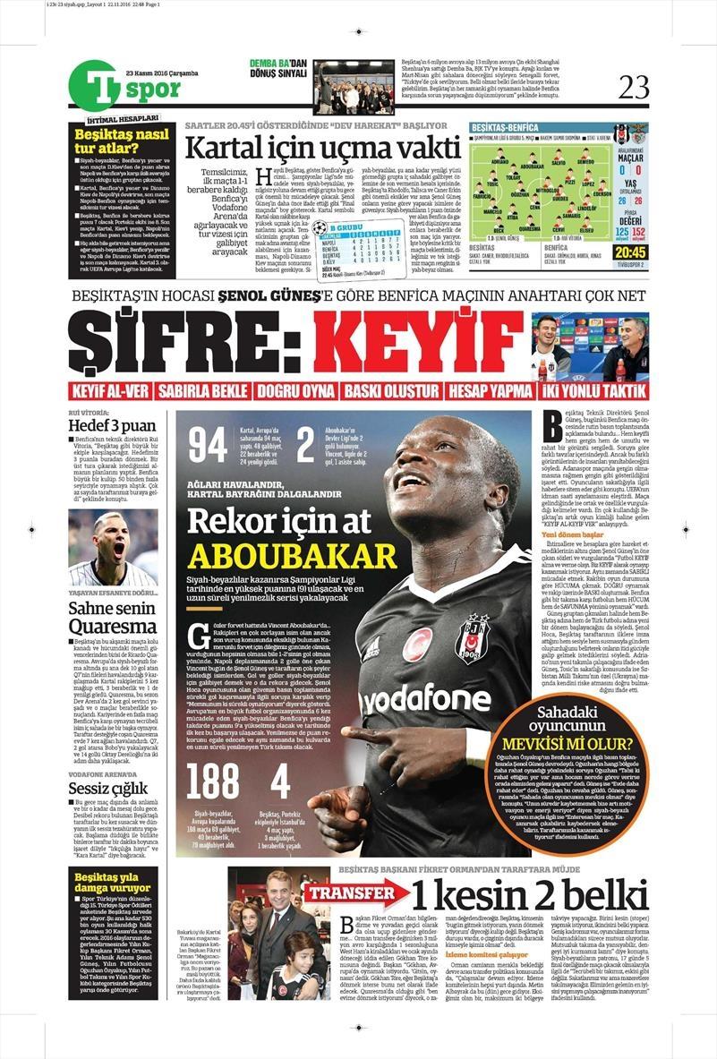 23 Kasım 2016 | Gazetelerin Beşiktaş sayfaları 3
