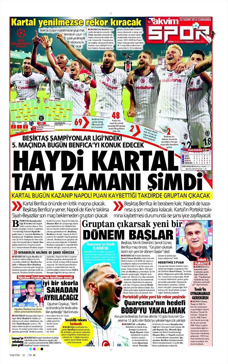 23 Kasım 2016 | Gazetelerin Beşiktaş sayfaları 4