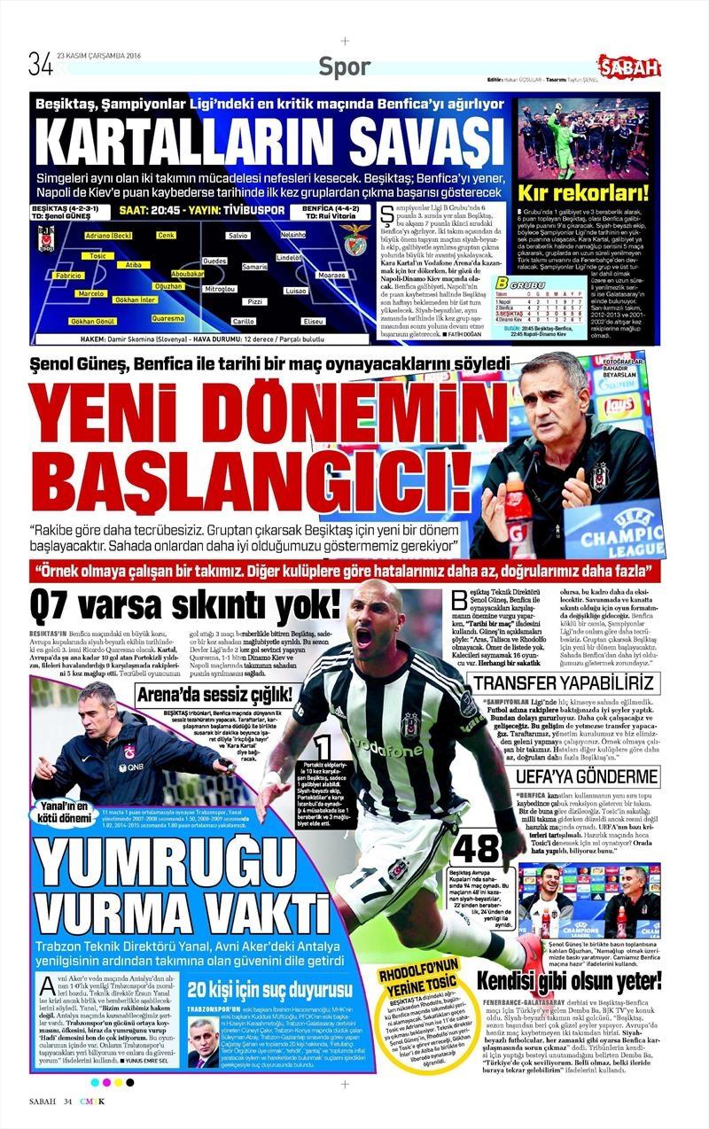 23 Kasım 2016 | Gazetelerin Beşiktaş sayfaları 5