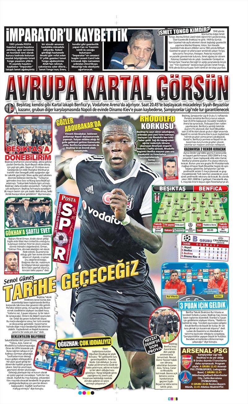 23 Kasım 2016 | Gazetelerin Beşiktaş sayfaları 6