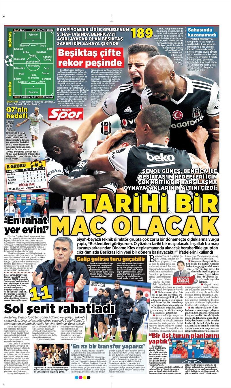 23 Kasım 2016 | Gazetelerin Beşiktaş sayfaları 7