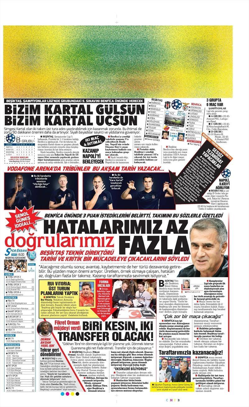23 Kasım 2016 | Gazetelerin Beşiktaş sayfaları 9