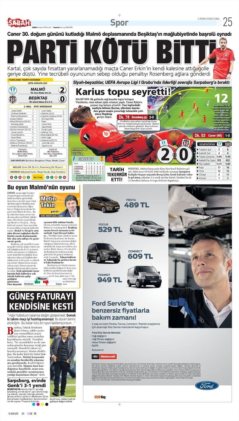 5 Ekim 2018 | Gazetelerin Beşiktaş Manşetleri 1
