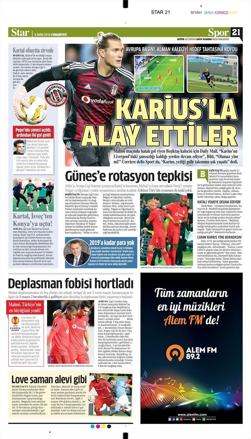 6 Ekim 2018 | Gazetelerin Beşiktaş Manşetleri 1
