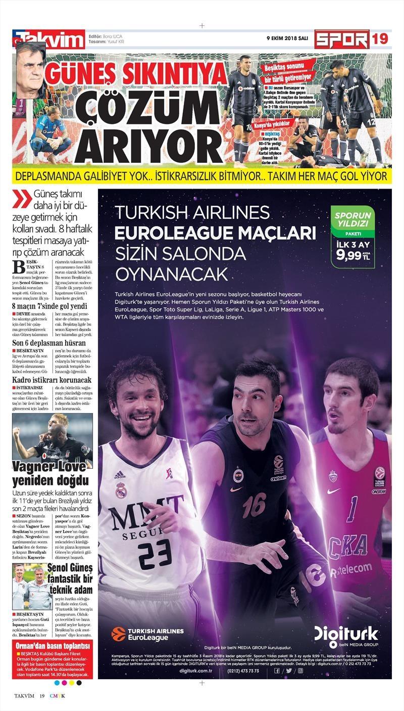 9 Ekim 2018 | Gazetelerin Beşiktaş Manşetleri 1