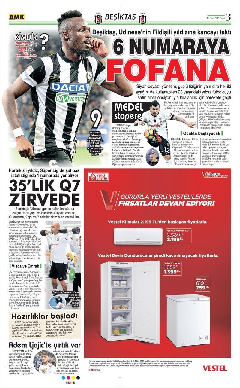 12 Ekim 2018 | Gazetelerin Beşiktaş Manşetleri 1