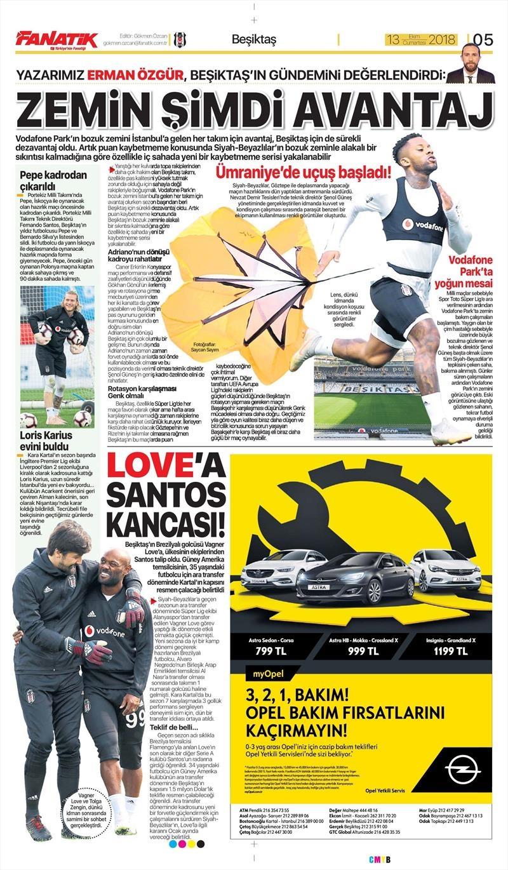 13 Ekim 2018 | Gazetelerin Beşiktaş Manşetleri 1