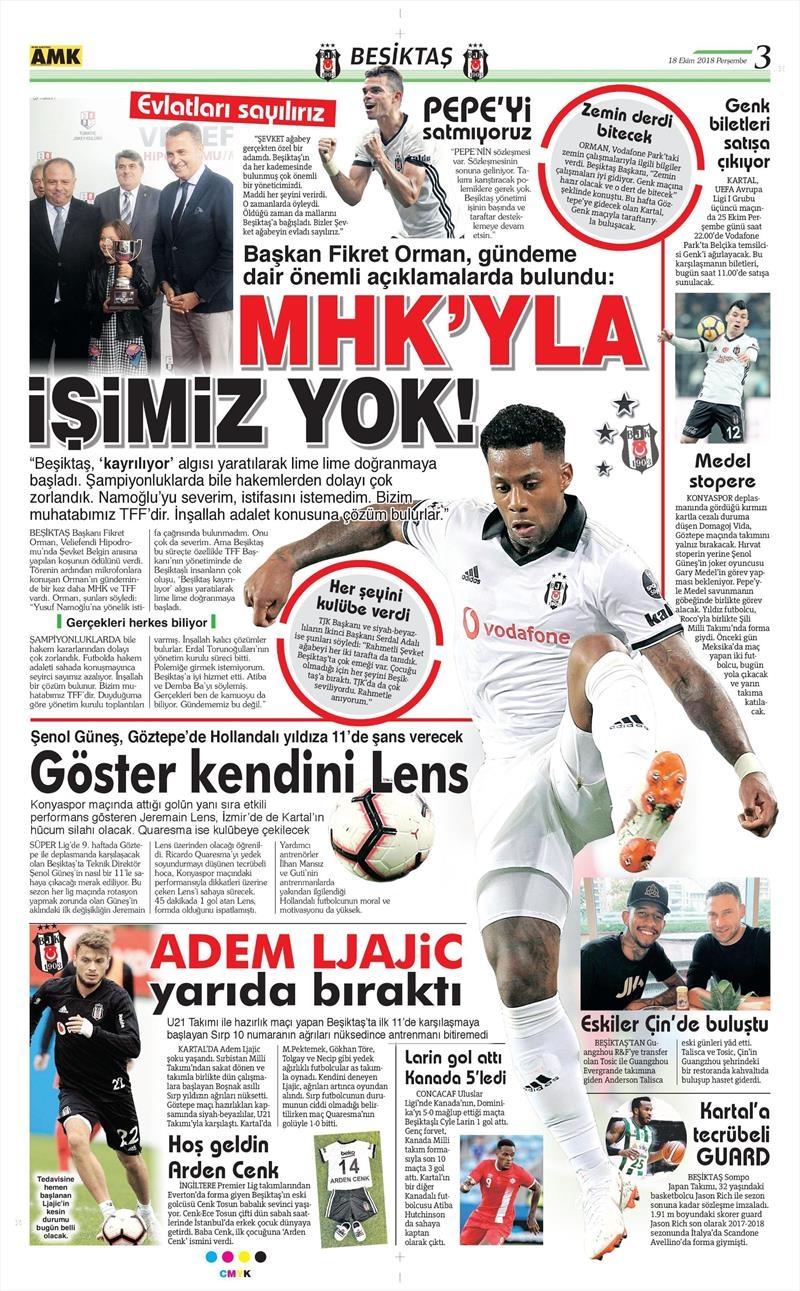 18 Ekim 2018   Gazetelerin Beşiktaş Manşetleri 1