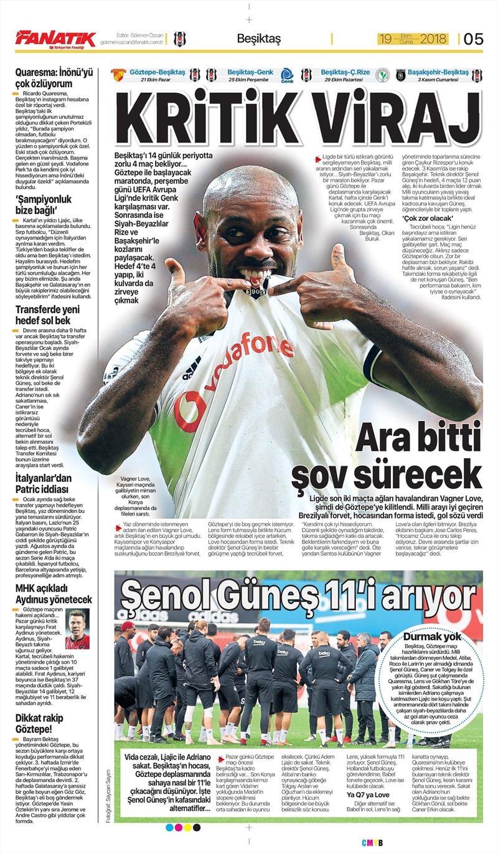 19 Ekim 2018 | Gazetelerin Beşiktaş Manşetleri 1