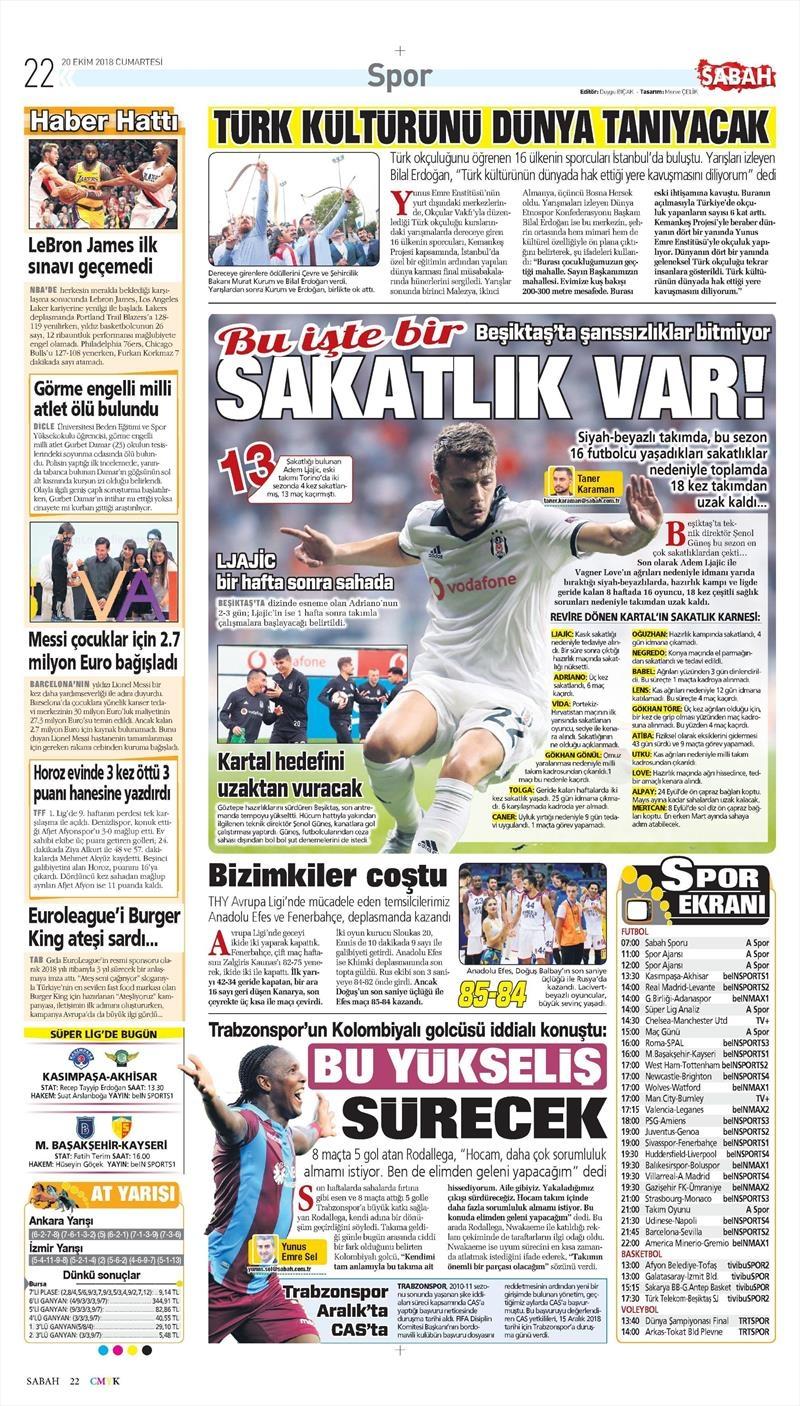 20 Ekim 2018 | Gazetelerin Beşiktaş Manşetleri 1