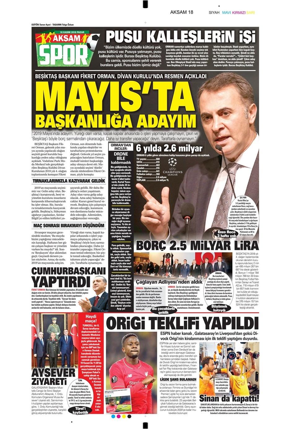 18 Kasım 2018 | Gazetelerin Beşiktaş Manşetleri 1