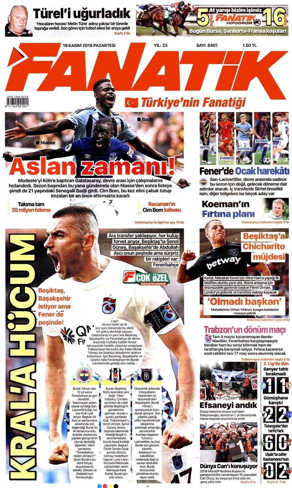 19 Kasım 2018 | Gazetelerin Beşiktaş Manşetleri 1