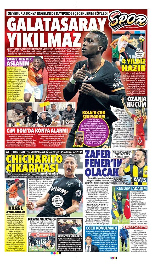 22 Kasım 2018 | Gazetelerin Beşiktaş Manşetleri 1