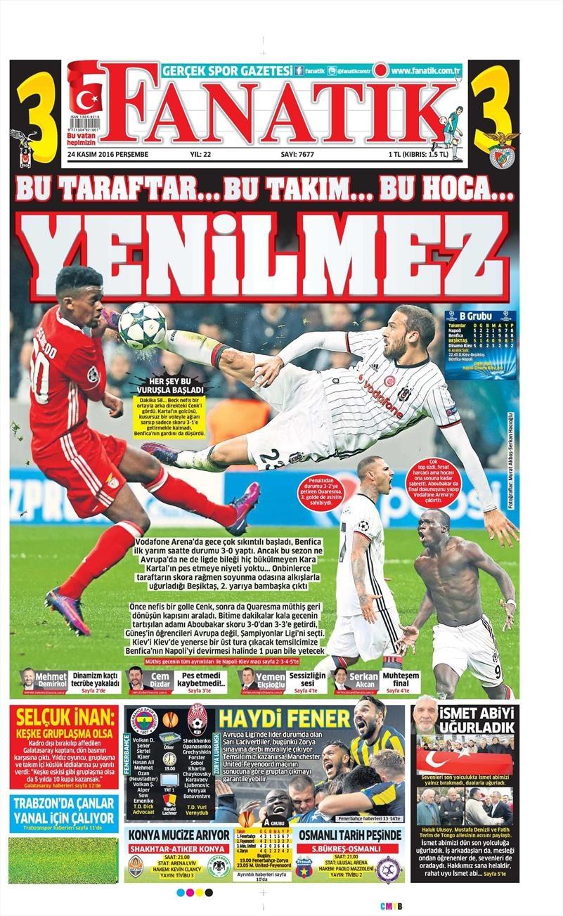 24 Kasım 2016 | Gazetelerin Beşiktaş sayfaları 1