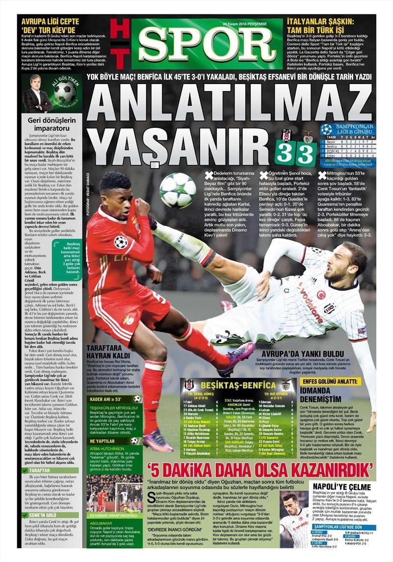 24 Kasım 2016 | Gazetelerin Beşiktaş sayfaları 10