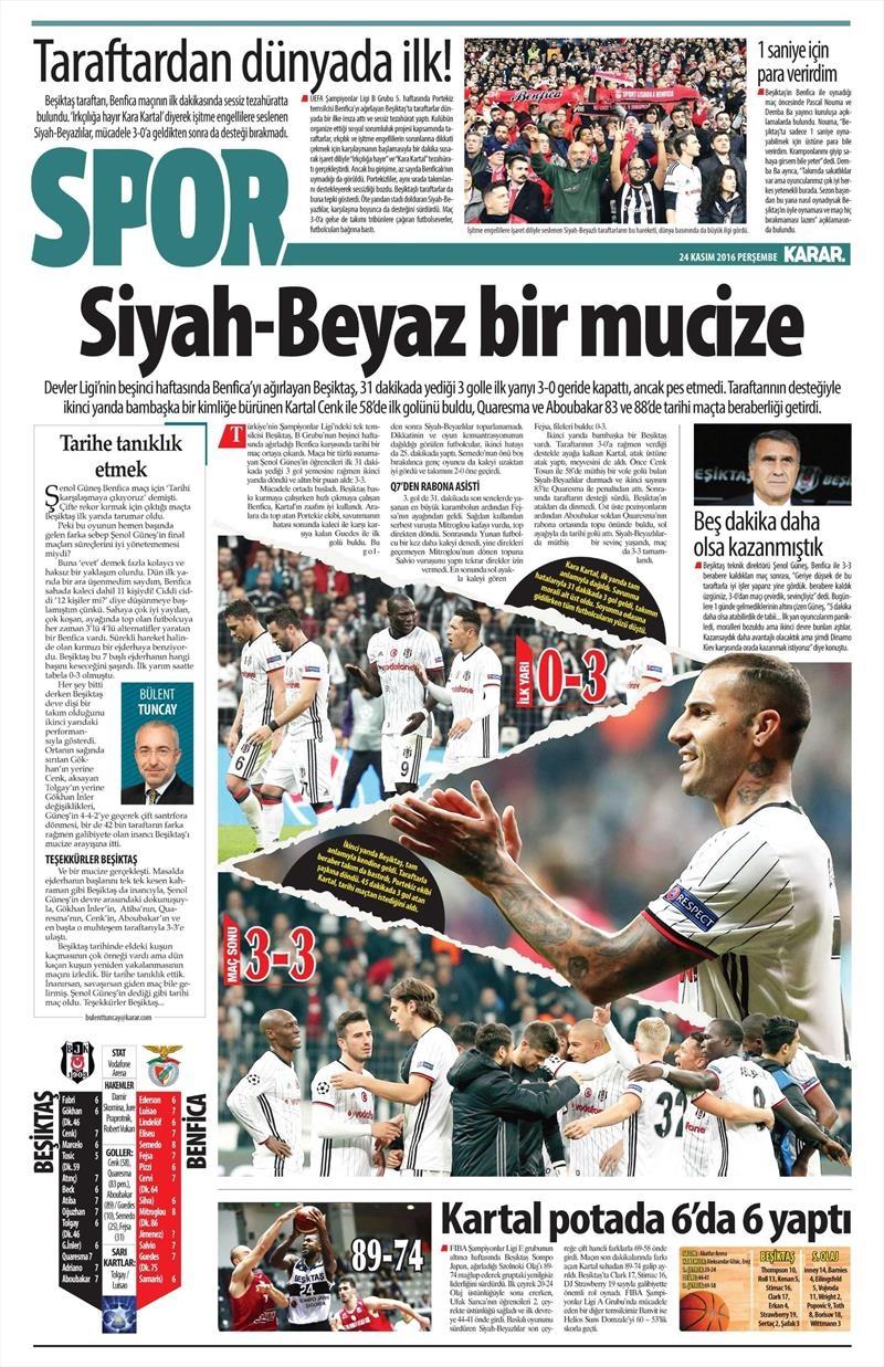 24 Kasım 2016   Gazetelerin Beşiktaş sayfaları 16