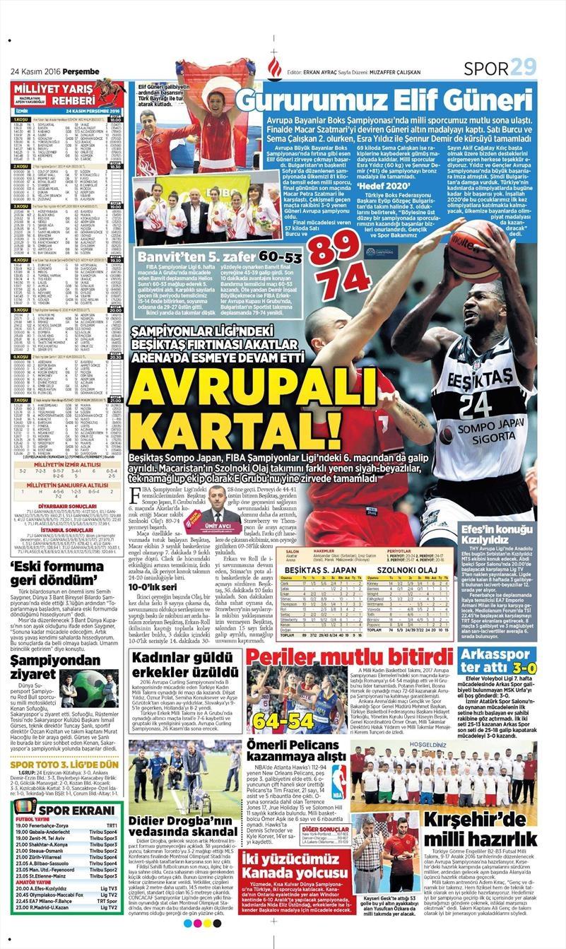 24 Kasım 2016 | Gazetelerin Beşiktaş sayfaları 17