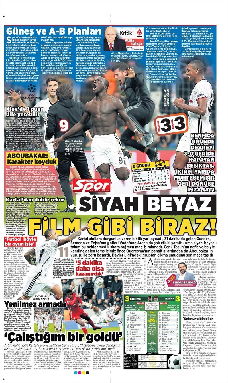 24 Kasım 2016 | Gazetelerin Beşiktaş sayfaları 18
