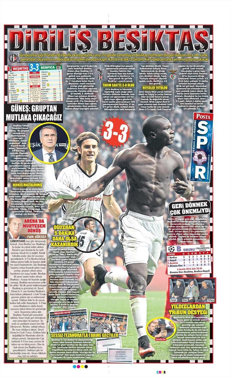 24 Kasım 2016 | Gazetelerin Beşiktaş sayfaları 20