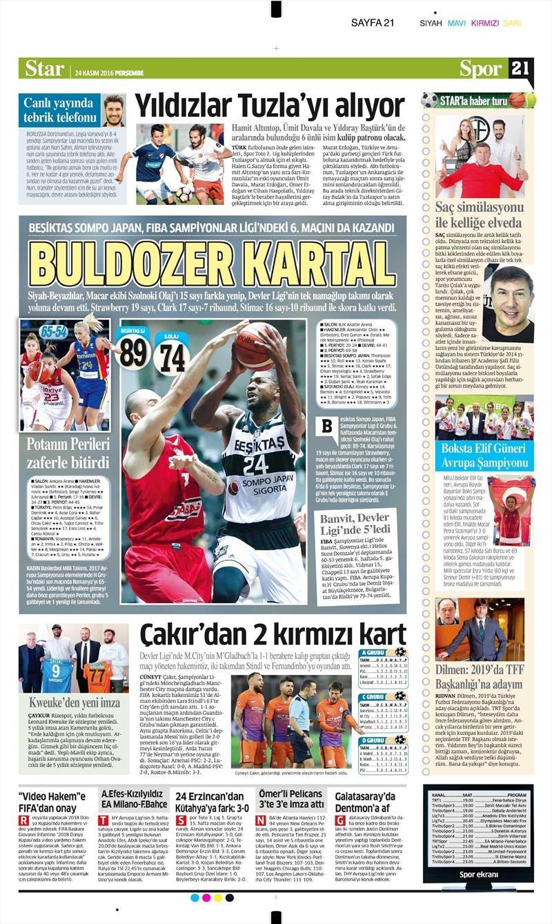 24 Kasım 2016   Gazetelerin Beşiktaş sayfaları 21