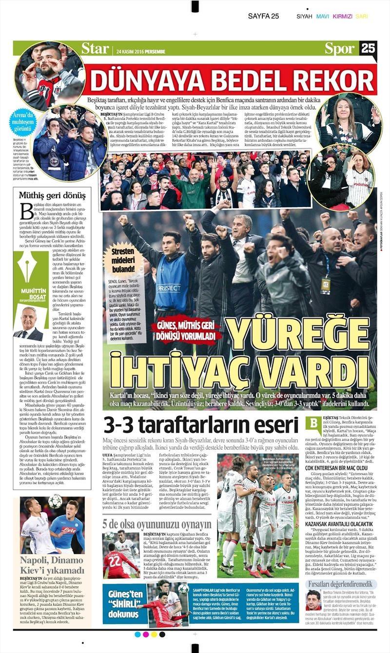 24 Kasım 2016 | Gazetelerin Beşiktaş sayfaları 23