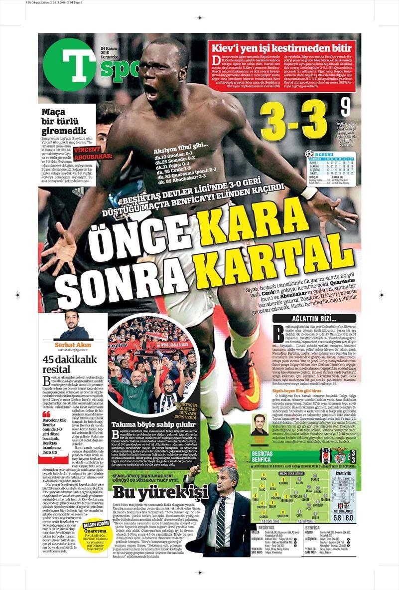 24 Kasım 2016 | Gazetelerin Beşiktaş sayfaları 26