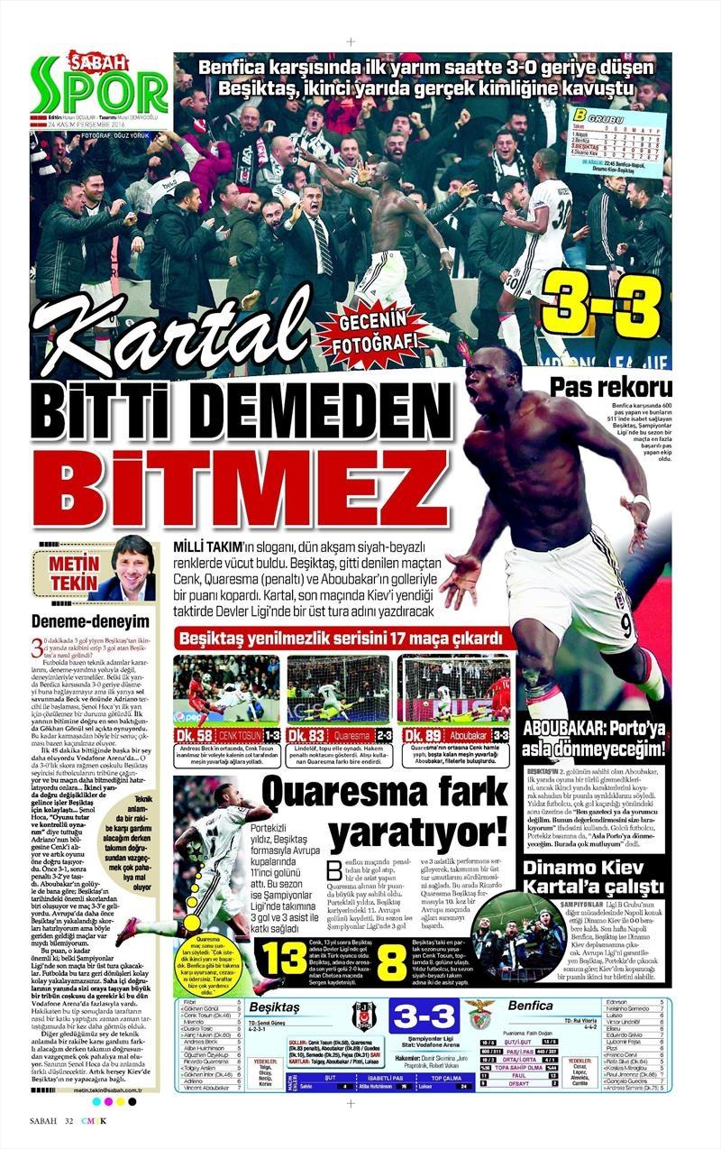 24 Kasım 2016 | Gazetelerin Beşiktaş sayfaları 29
