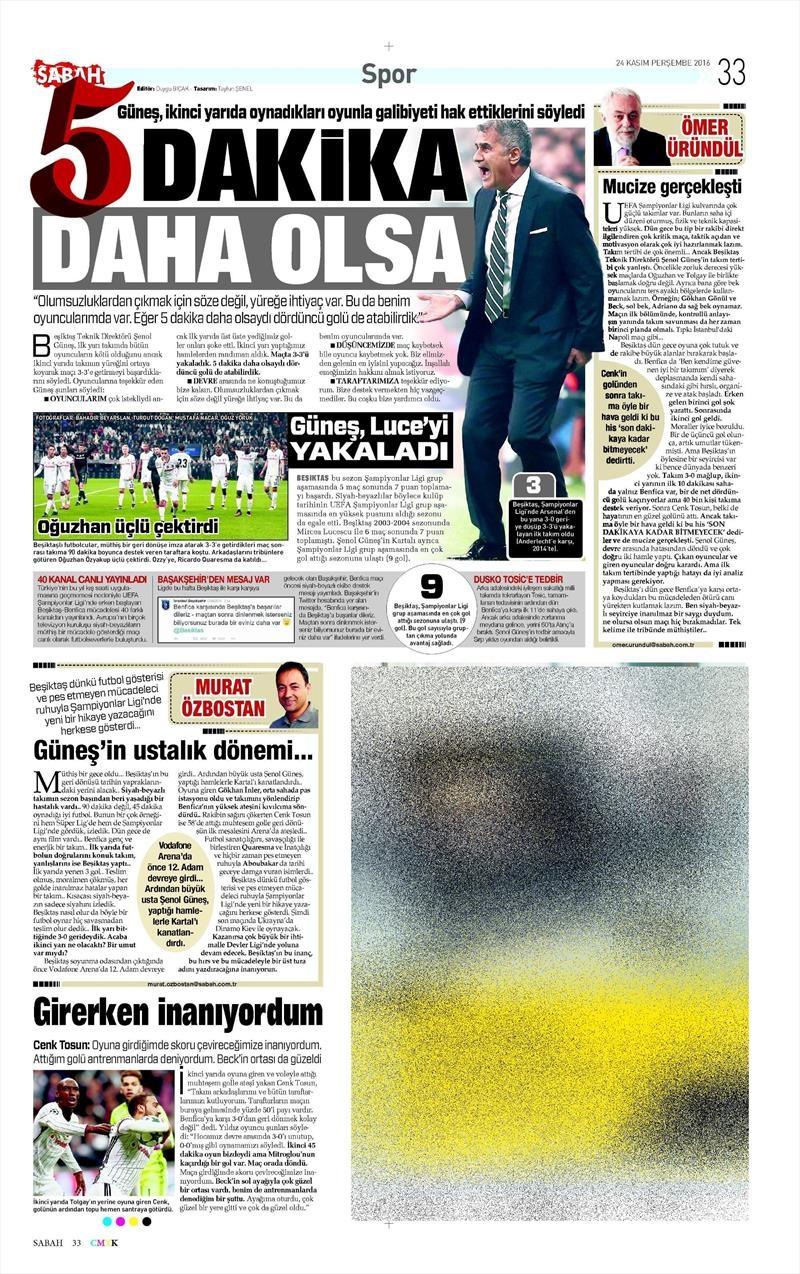 24 Kasım 2016 | Gazetelerin Beşiktaş sayfaları 30