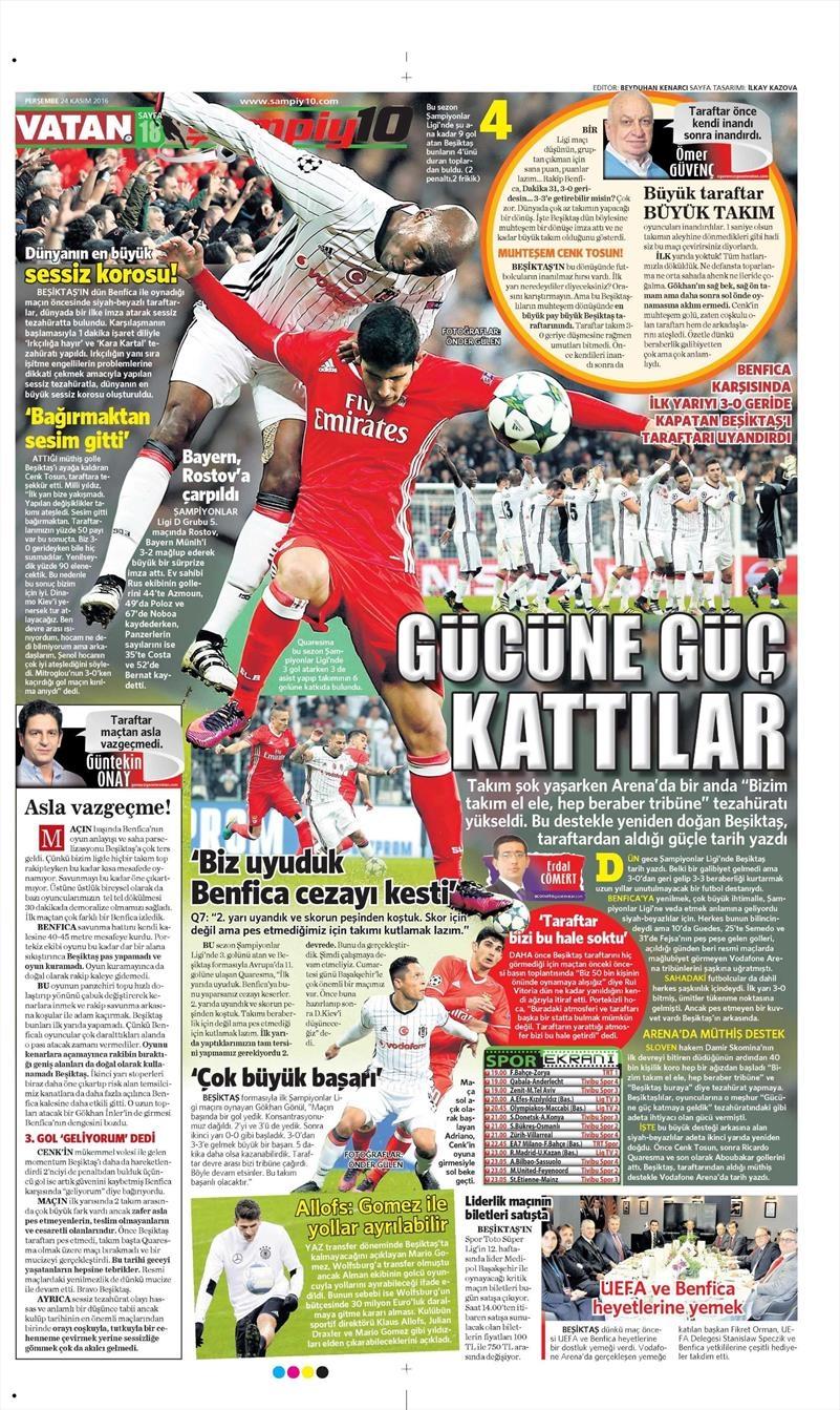 24 Kasım 2016 | Gazetelerin Beşiktaş sayfaları 31